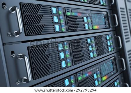 Server data center closeup panel room - stock photo