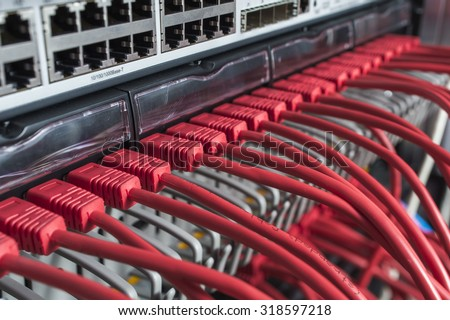 server data transfer on the red multifilamentary wire - stock photo