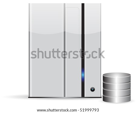 Server database, minimalist, isolated on white background - stock photo