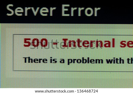Server error page of code 500 on computer monitor - stock photo