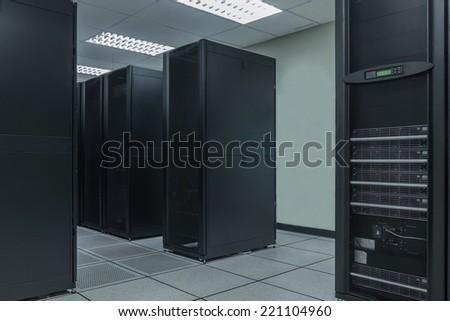 Server farm in data center - stock photo