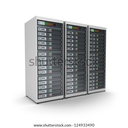 Server farm. Isolated on white. - stock photo