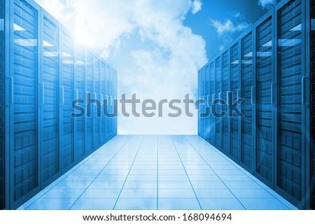 Server hallway in the blue sky - stock photo