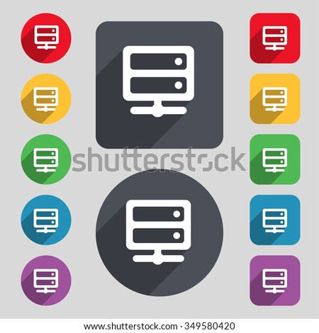 Server icon sign. A set of 12 colored buttons and a long shadow. Flat design. illustration - stock photo