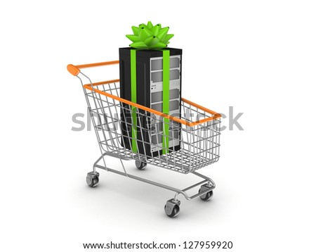 Server in a shopping trolley.Isolated on white background.3d rendered.