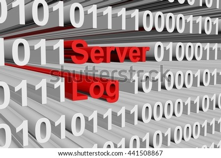 server log in the form of binary code, 3D illustration