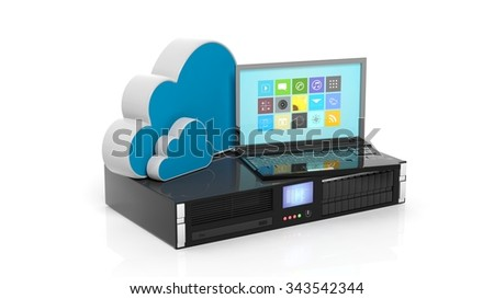 Server rack, cloud and laptop icons isolated on white background.