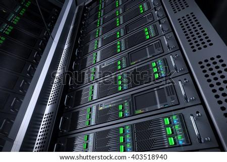 Server rack database. Telecommunication equipment. 3d illustration - stock photo