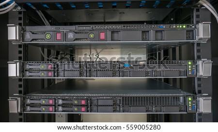 Server Rack In Cabinet