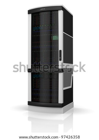 Server rack isolated on white with reflection on floor