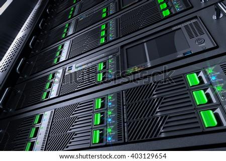 Server rack panels in data center. 3d illustration - stock photo