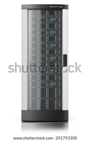 Server rack, tower box isolated, datacenter - stock photo