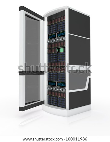 Server rack with open door isolated on white