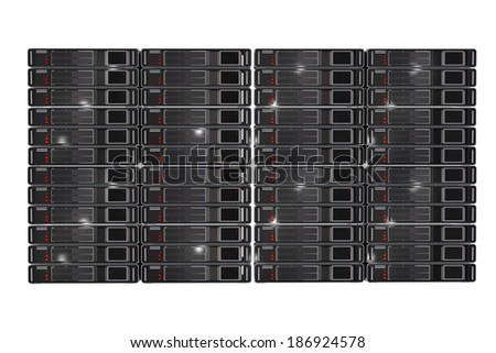 Server Racks Front View 3D Render Illustration Isolated on White Background. - stock photo