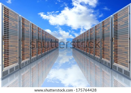 Server racks in a row. 3d illustration. - stock photo