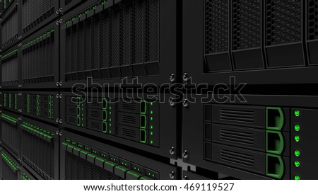 Server racks. Infinite focus version. 3D rendering