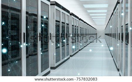Server room center exchanging cyber datas and connections 3D rendering