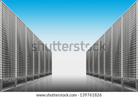 Server room on blue background - illustration