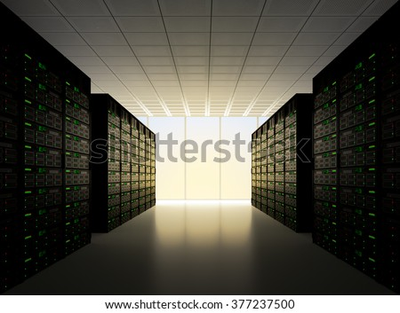 Server room, with many computers stacked together with a dramatic sunset lighting  - stock photo