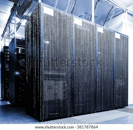 server room with matrix code