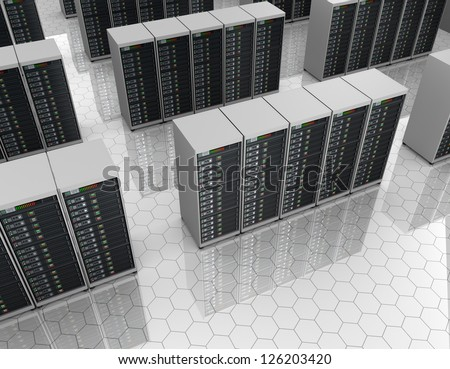 Server room with server clusters. - stock photo