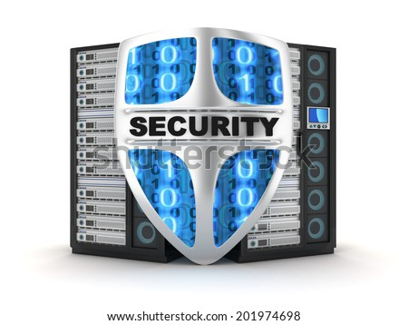 Server security (done in 3d) - stock photo