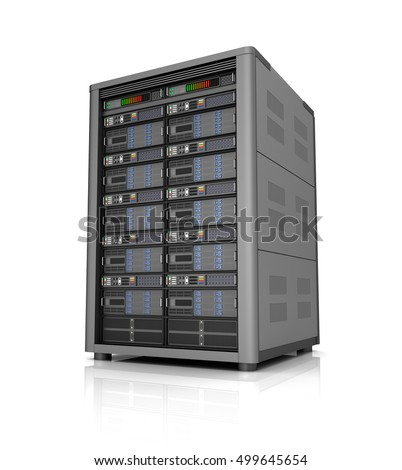 Server storage database icon over white. 3D illustration