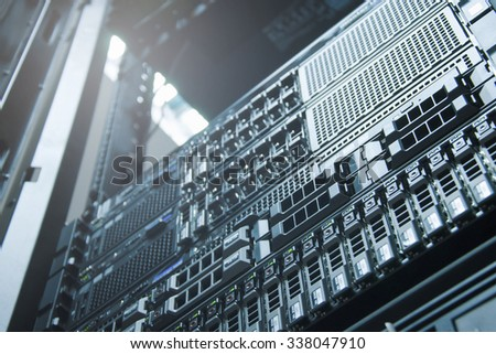 Server technology in datacenter from bottom view - stock photo