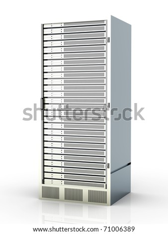 Server tower. 3D rendered Illustration. Isolated on white. - stock photo