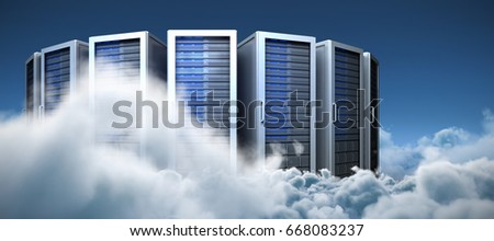 Server towers against idyllic view of white cloudscape against sky