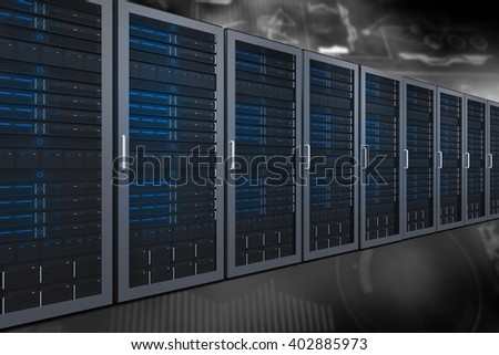 Server towers against technology interface