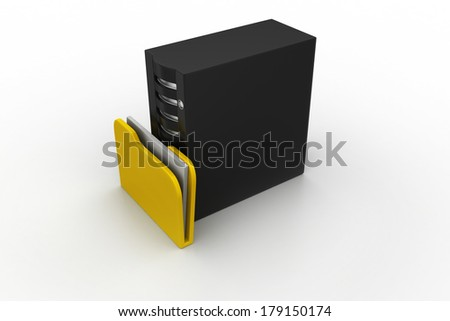 Server with file folder - stock photo