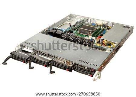 Server with racks isolated on white background