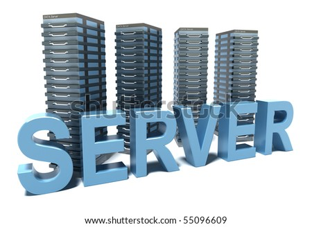 Server word in front of grey Servers - stock photo