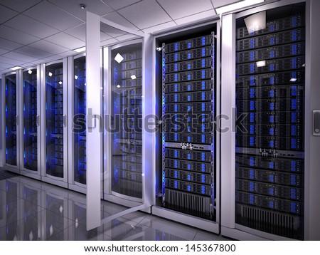 Servers in data center - stock photo