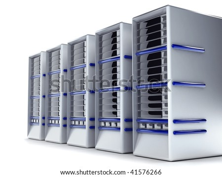 Servers of computers isolated over a white background