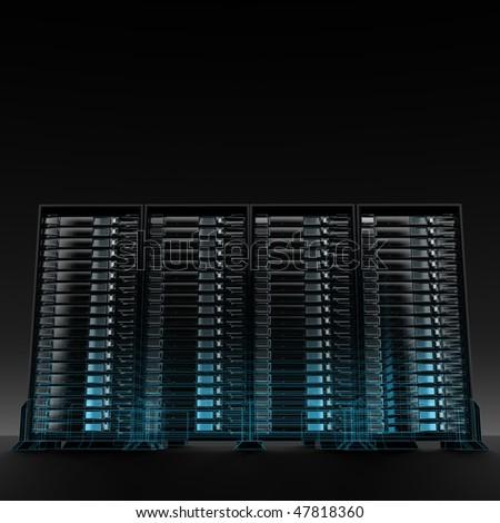servers wireframe - stock photo
