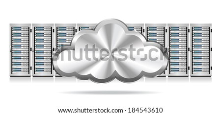 Servers with Silver Cloud Information technology conceptual image - Raster Version - stock photo