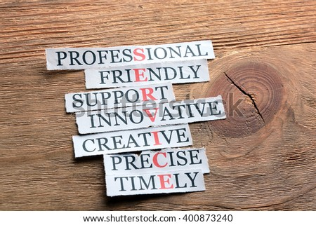 Service acronym in business concept, words on cut paper on wooden background - stock photo