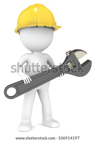 Service and Repair. 3D little human character The Builder with an adjustable Wrench.  People series.