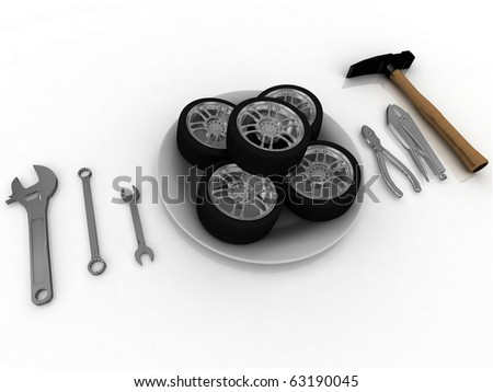 service and repair wheels - stock photo