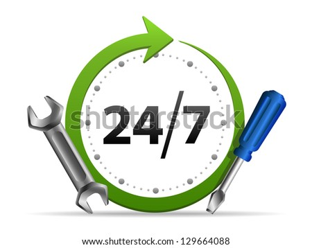 Service - around the clock or 24 hours a day and 7 days a week icon isolated on white background - stock photo