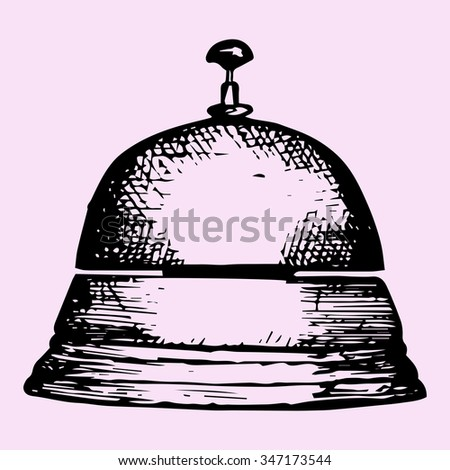 service bell, doodle style, sketch illustration, hand drawn, raster - stock photo