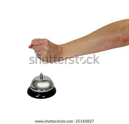 Service bell for service usually placed on a desk being struck by a woman with a large diamond ring Engagement ring