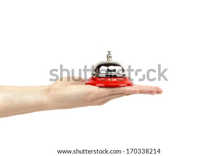 Service bell on a hand, isolated on white, customer service concept image - stock photo
