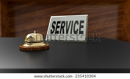 Service bell on office desk. Conceptual image for assistance and support questions.
