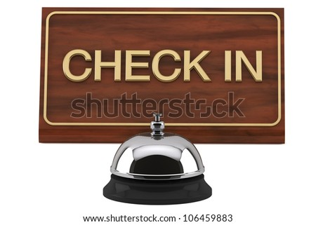 Service Bell with Check In Sign Plate on a white background