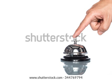 Service bell with human on white background,  customer demand, reflection