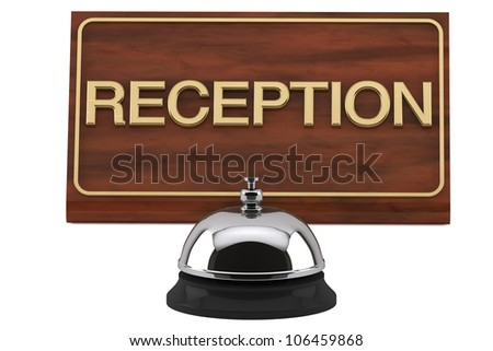 Service Bell with Reception Sign Plate on a white background