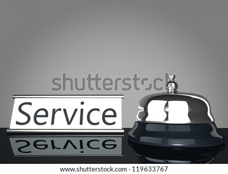 Service Bell with Service Sign mirroring on floor